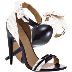 L.A.M.B. Jazmyn Black & White Leather Heels